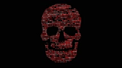 Concept of computer security. The skull of the hexadecimal code. Pirate online. Stock Footage