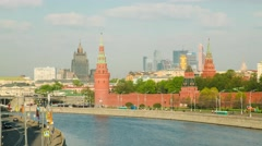 Moscow new city and Moscow River at morning Stock Footage
