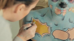 Body art image of zombie for the day of the deads Stock Footage