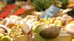 Mushrooms in Borough Market in London, United Kingdom - stock footage