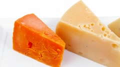 delicatessen aged cheeses - stock footage