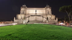 Panning shot of Traffic in front of the Vittoriano monument in Rome. - stock footage