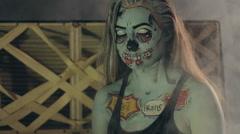 Terrible hag in the smoke on Halloween Stock Footage