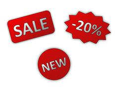 Set of red sale stickers Stock Photos