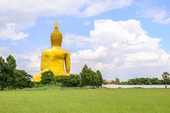 Backside of biggest Buddha statue in Thailand at Wat Muang, Ang Thong Provinc - stock photo