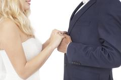 Stock Photo of Interracial couple wedding