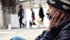 Homeless in the street Stock Footage