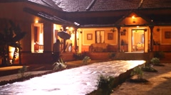Night effect of Rural house Stock Footage