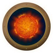 Sun in space window - stock illustration