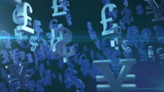 Stock Video Footage of Currency symbol loop, 3d animation