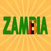 Zambia flag text with sunburst illustration - stock illustration