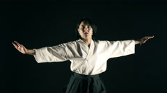 Stock Video Footage of 4k, Master of Sports of practicing Aikido 4
