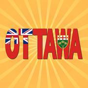 Ottawa flag text with sunburst illustration Piirros