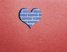 Red felt with heart. Background Valentine's Day Stock Photos