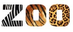 Zoo word from fur alphabet. Isolated on white background. With c - stock photo