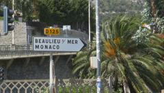 Road sign for Beaulieu sur Mer and Monaco. Stock Footage