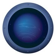 Planet Neptune in space window - stock illustration