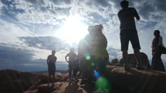 A silhouette of hikers and tourists on a trail Stock Footage