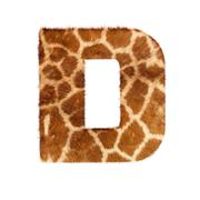 Letter from giraffe style fur alphabet. Isolated on white background. With clipp - stock photo
