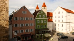 Historic architecture in Regensburg, Germany Stock Footage