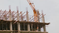 Workers On A High Rise Construction Site In Thailand Stock Footage