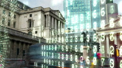 Bank of England with electronic numbers. Stock Footage