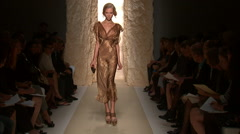 Fashion models walking on runway for Donna Karan Collection Stock Footage