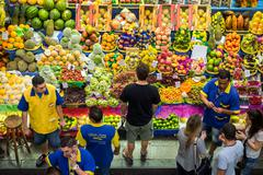 Customers Grocery Shopping at Municipal Market in Sao Paulo, Brazil - stock photo