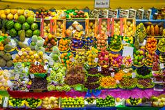 Fresh Fruit Stand at Municipal Market in Sao Paulo, Brazil - stock photo