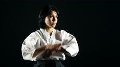 Stock Video Footage of 4k, Master of Sports of practicing Aikido 1