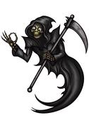 Funny Grim Reaper with OK gesture - stock illustration