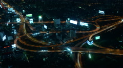 Time Lapse of Traffic from Above at Night - Bangkok Thailand Stock Footage