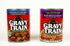Cans of Gravy Train - stock photo