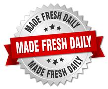 made fresh daily 3d silver badge with red ribbon - stock illustration