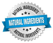natural ingredients 3d silver badge with blue ribbon - stock illustration