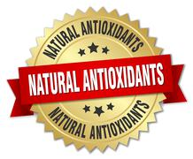 natural antioxidants 3d gold badge with red ribbon - stock illustration