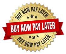 Stock Illustration of buy now pay later 3d gold badge with red ribbon