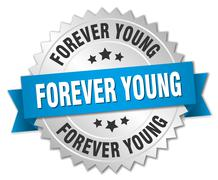 forever young 3d silver badge with blue ribbon - stock illustration