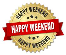 happy weekend 3d gold badge with red ribbon - stock illustration