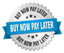 buy now pay later 3d silver badge with blue ribbon - stock illustration