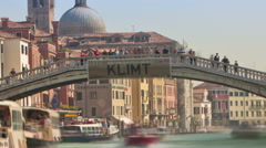 Time-lapse of the Scalzi bridge and water traffic in Venice. Cropped. Stock Footage