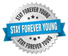 stay forever young 3d silver badge with blue ribbon - stock illustration