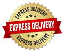 Stock Illustration of express delivery 3d gold badge with red ribbon