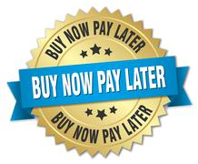 Buy now pay later 3d gold badge with blue ribbon Stock Illustration