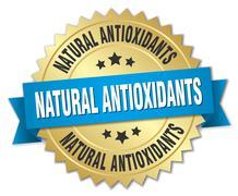 natural antioxidants 3d gold badge with blue ribbon - stock illustration