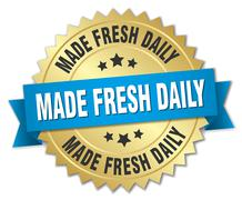made fresh daily 3d gold badge with blue ribbon - stock illustration