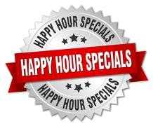 Stock Illustration of happy hour specials 3d silver badge with red ribbon