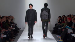 Fashion models walking on runway for Duckie Brown Collection Stock Footage