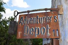 Adventurers depot - last shop before the wilderness - stock photo