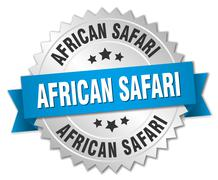 african safari 3d silver badge with blue ribbon - stock illustration